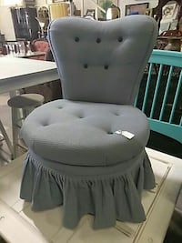 tufted grey armless sofa chair