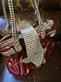 red and white leather handbag Dothan