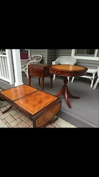 Rectangular brown wooden coffee table; round brown wooden table; brown wooden end table Arlington Heights, 60004