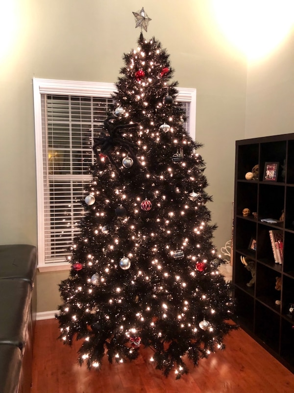 9 Foot Black Pre Lit Christmas Tree
