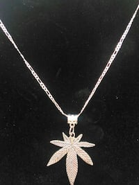"""24"""" Sterling silver necklace with weed leaf  Dover, 19901"""