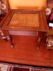 brown wooden side table with drawer