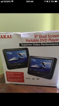 "AKAI 9"" portable DVD player dual screen new Brampton, L6P 1G6"
