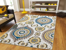 New Modern yellow rug 5x8 area rug blue cream tan