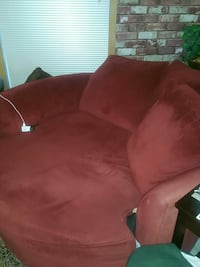 red suede loveseat
