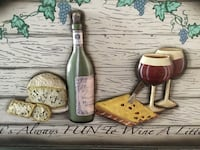 Wood and ceramic gorgeous : it,s always Fun to Wine a little. Perfect arch wood deco for your kitchen,den, dining room, bar or entertainment room. 16x24. Rare  Baldwin, 11510