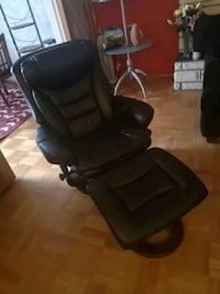 Black reclining leather chair w/ ottoman Burnaby, V5E 3M3