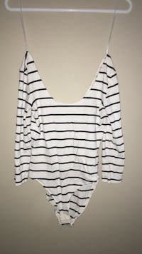 white and black striped scoop-neck shirt Calgary, T3K 0J8
