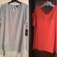 2 woman's tops size XL. Blue brand new 15$ and red worn once 10$ Laval, H7X 3R8