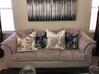 Pearl white microfiber love sofa and single chair. No pets. Pillows not included
