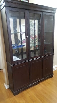 brown wooden framed glass display cabinet Calgary, T2A 6H6