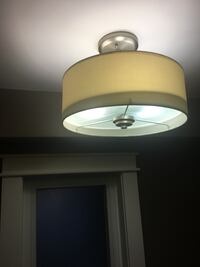 Cream linen drum shade light fixture Oakville, L6L 5P1