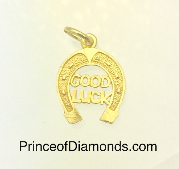 Sterling silver 24kt gold plated good luck horse shoe pendant charm