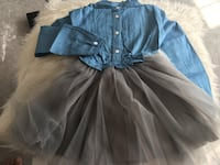 blue and black button-up long-sleeved dress