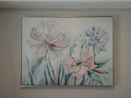 Framed canvas painting
