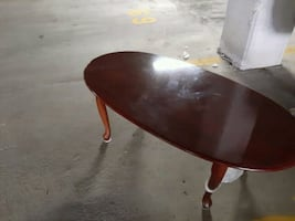 """**$8.00/ QUEEN ANNE STYLE, COFFEE TABLE: APPROX 48"""" LONG +EASY WIPE"""