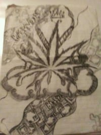Hand drawn marijuana plant  Council Bluffs, 51501