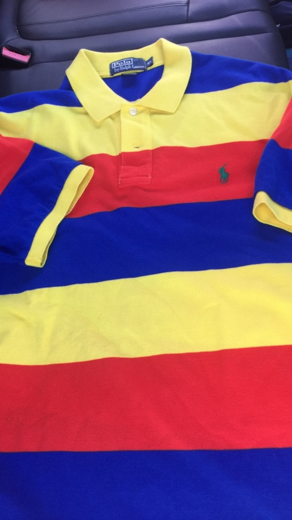 Yellow Red And Blue Striped Polo Shirt