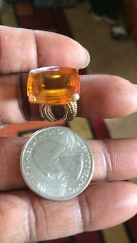 14k gold ring with large emerald cut topaz stone. Make me an offer or a trade  Sterlington, 71280