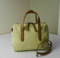 beige Fossil leather 2-way handbag