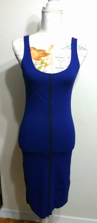 Ink Blue Zipper-front Midi Dress Toronto