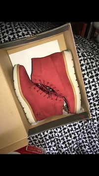 pair of red Timberland work boots Orlando