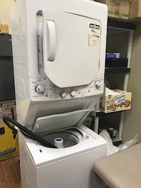 white and gray stackable washer and dryer North Perth, N4W