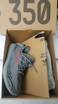 pair of gray Adidas Yeezy Boost 350 with box New York, 10034