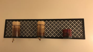 Black steel wall candle holder