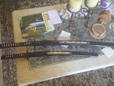 two black Samurai blade and Katana