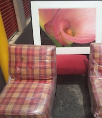 pink and white plaid fabric sofa chair 68 km