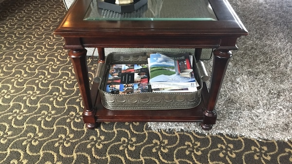 Restoration Hardware Brand End Table And Sofa Table With Rattan And Glass