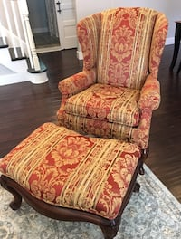 Thomasville Custom Wingback Chair with Matching Ottoman