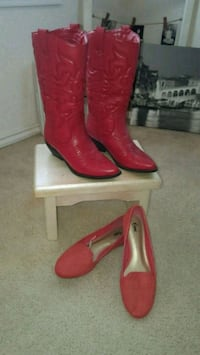 pair of red leather heeled boots Killeen, 76542