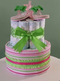 Green Bows Baby Diaper Cake
