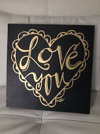 Wooden wall decor black & gold Love You Valentine's Gift!!