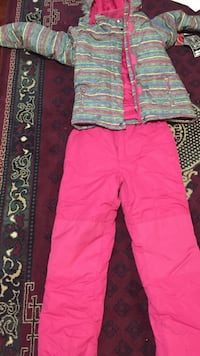 gray and pink stripe zip-up jacket with pink pants