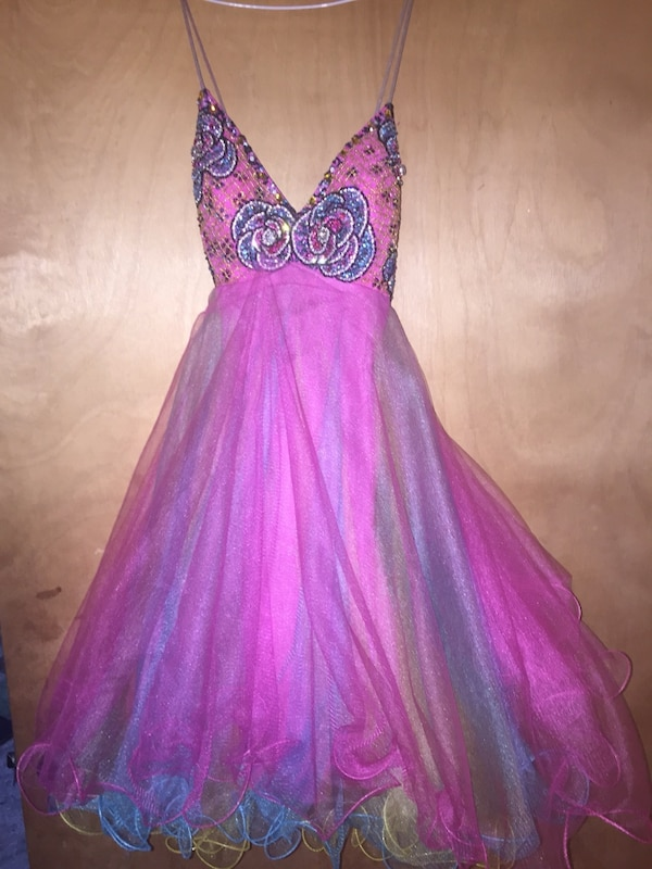 pink and purple plunging neckline spaghetti strap d69824d1-65b9-49f8-8cde-c2f2406fab55
