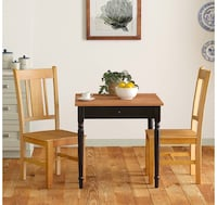 "Ravenna Home Traditional Dining Table 29""H, Black,Rustic Honey Pine"