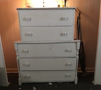 Dresser, white wood, five drawer Nashville, 37204
