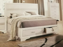 Queen size white panel bed with two drawers