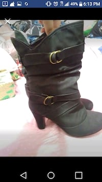 pair of black leather boots Cocoa, 32922