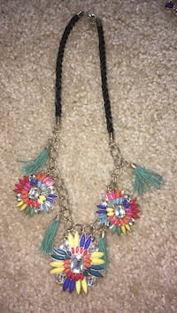 silver, black, yellow, and blue floral necklace
