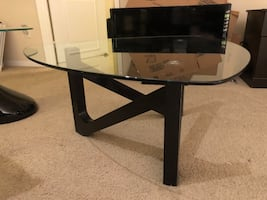 Center glass and wood coffee table