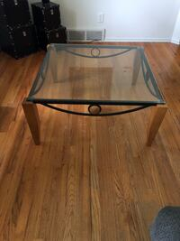 Rectangular glass top table with black metal base McHenry, 60051