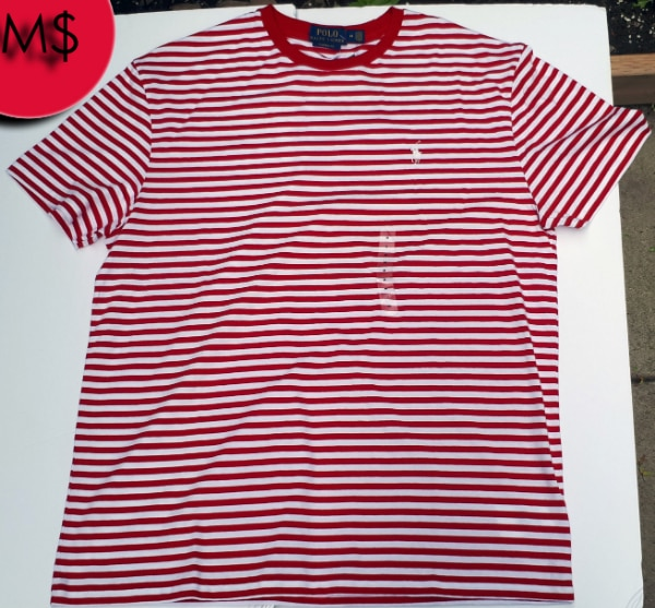 Ralph Lauren Polo Stripped T-Shirt Red/White NWT Large/Medium 6cfcd8cd-eb18-43ae-9cee-7795ef481f91