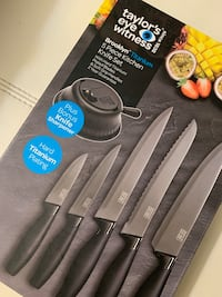 Taylors Eye Witness 5 Piece Knife Set with Sharpener,brand new Sealed