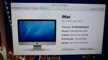 "21"" iMac dual core 4 threads 8 gb ram"