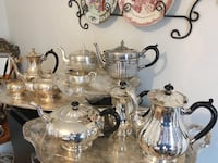 Three Antiques Silver Plate Tea Sets with trays  Toronto, M6C 2J9
