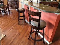 two brown wooden bar stools CHANTILLY
